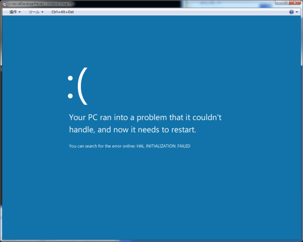 Windows 8(Windows Developer Preview) 32bit error