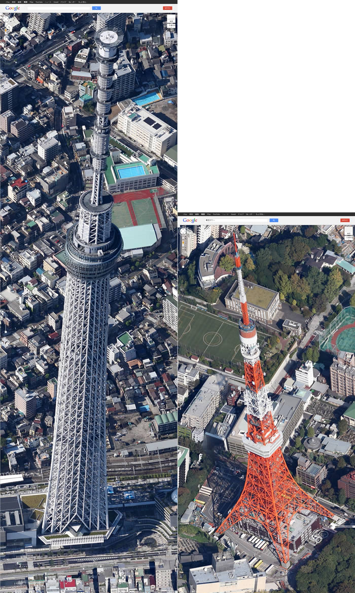google map 45°skytree tokyo tower